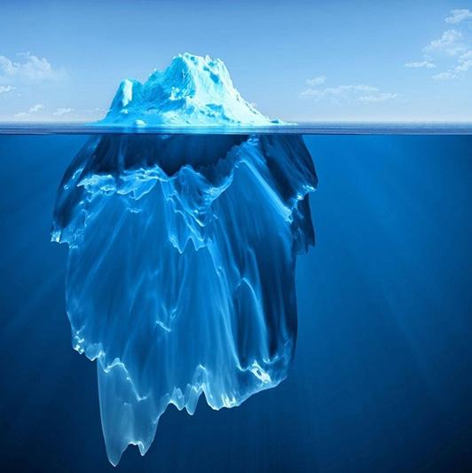 Заданне з айсбергам на візуальную пісьменнасць. Калі ў медыя выкарыстоўваюць гэту карцінку і якія можна правесці паралелі?