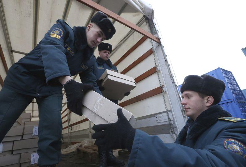Адпраўка гуманітарнай дапамогі ў Сірыю. Фота БелТА