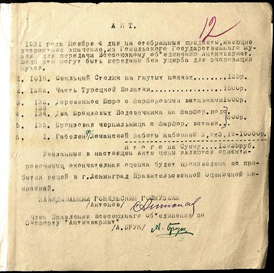 Акт аб адабраннi экспанатаў з Гомельскага дзяржаўнага музея для перадачы Усесаюзнаму  аб'яднанню «Антыкварыят», 1931 год.