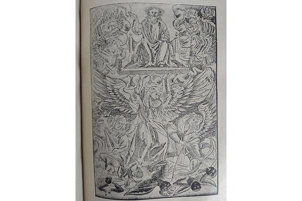 Ілюстрацыя падпісана так:  «Тройца» на адвароце загалоўнага аркушу праскае Бібліі».