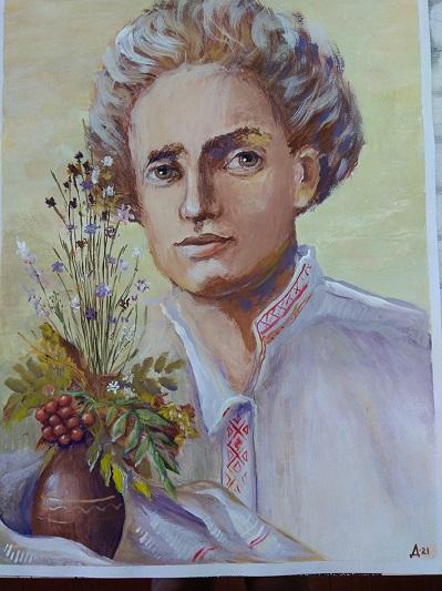 Малюнак Дар'і Дзягель «Партрэт Песняра» з конкурсу.