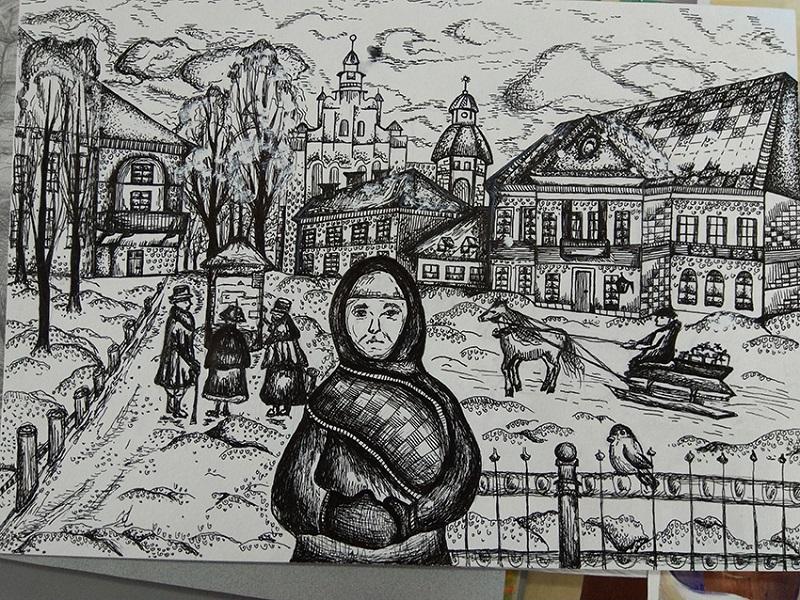 Малюнак Дар'і Бондар «На Каляды да сына» з конкурсу.