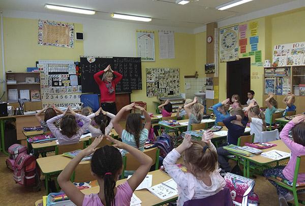 На ўроку ў першым класе ў Печках.