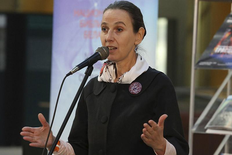 Галина Левина на презентации книги о Тростенце.
