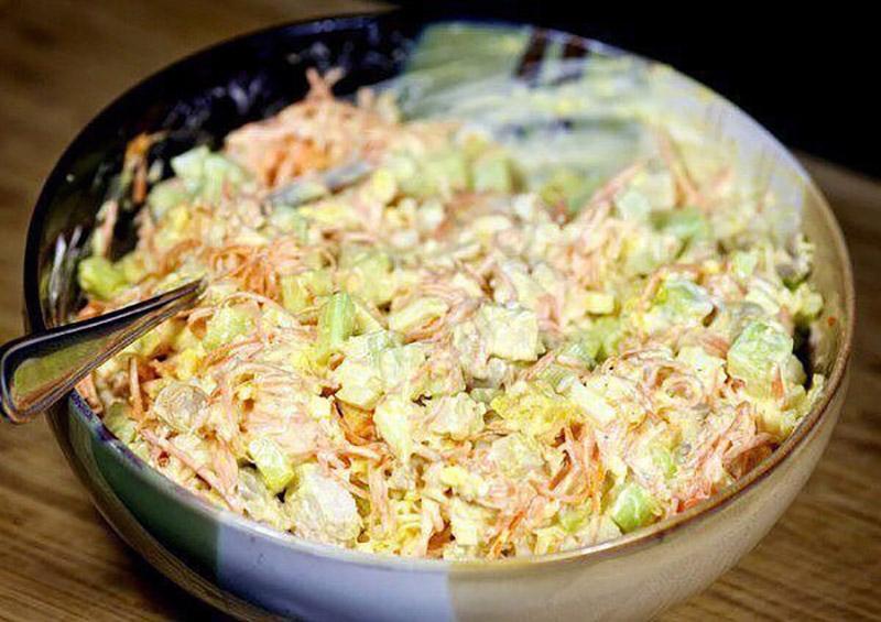Салат корейская морковь огурец куриная грудка сыр