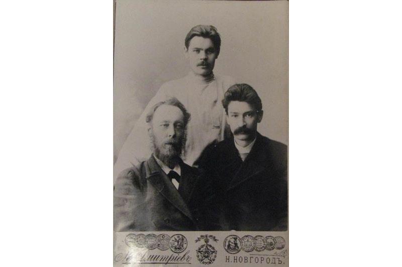 Максім Горкі, Сяргей Шчарбакоў, Адам Багдановіч.
