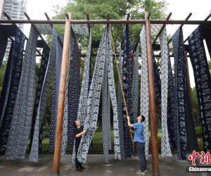 Синие набивные ткани