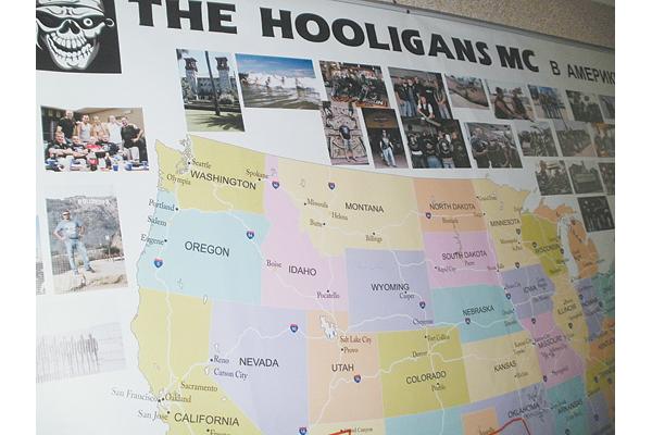 Карта, на которой отмечен путь байкеров по США.